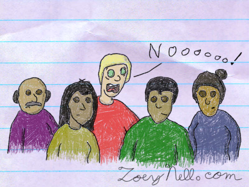 "A drawing of a single light-skinned man surrounded by dark-skinned people. With an expression of fear, the man screams, ""No!"""