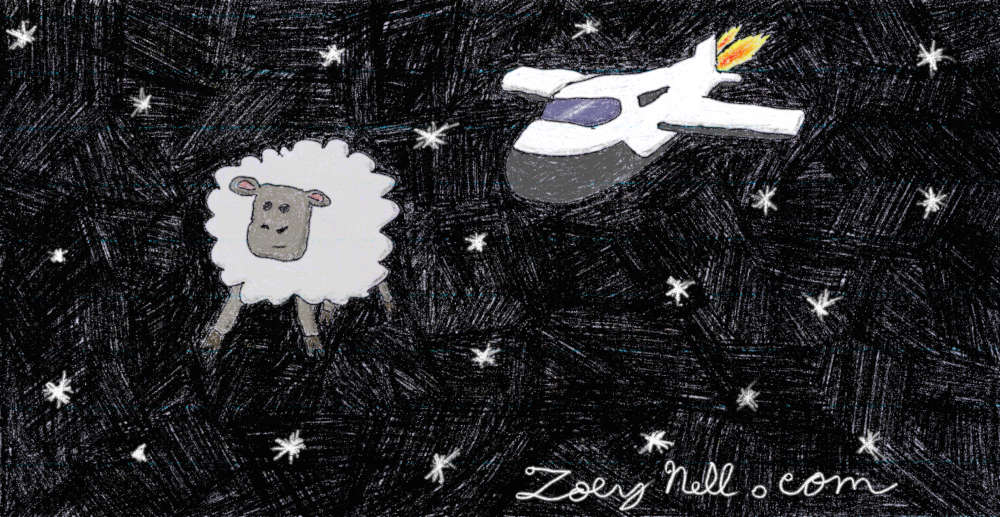 A drawing of a sheep floating in space while a spaceship approaches.