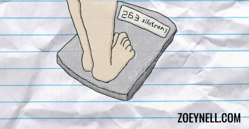 "A drawing of a person standing on a scale. The scale reads, ""263 kilotrans."""