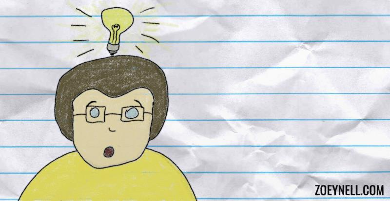 A drawing of young, male-presenting me with a light bulb over my head.
