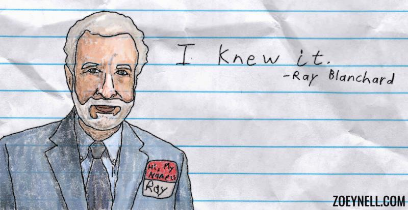 "A drawing of Ray Blanchard saying, ""I knew it."""