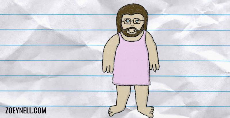 A drawing of bearded me in a nightgown looking ridiculously happy.